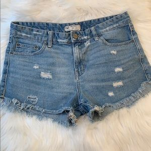 Free People distressed high waist denim shorts